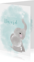 Geboortekaartje met olifantje, waterverf en hartjes