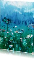 Geschilderde wilde bloemen blauwgroen