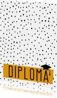 Geslaagd kaarten - Geslaagd - Diploma - Okergeel