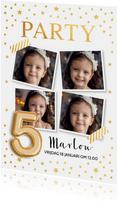 Goud confetti ballon 5 jaar uitnodiging kinderfeestje