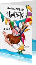 Grappige geslaagd kaart apetrots met aap  duikbril