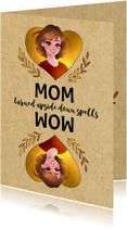 Moederdag kaarten - Grappige moederdagkaart - MOM Turned Upside Down Spells WOW