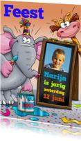 Grappige utnodiging kinderfeest met olifant, giraf en foto