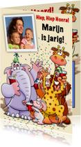 Grappige verjaardagkaart met leuke dieren voor kind