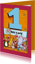 Grappige verjaardagskaart voor kind dat 1 jaar wordt