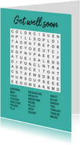 Beterschapskaarten - Greeting card with word search puzzle - 'Get Well Soon'