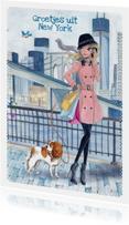 Groetjes uit New York Illustratie meisje