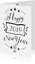 Happy 2019 new year zwart wit