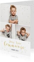 Communiekaarten - Hippe communie uitnodigingskaart fotocollage jongen