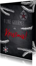 Humoristische kerstkaart, fijne gourmet.