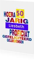 Verjaardagskaarten - jarig 50 regenboog
