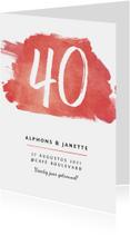 Jubileum uitnodiging 40 jaar stijlvol met rode verf en foto