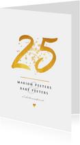 Jubileumkaart 25 jaar huwelijk goudlook klassiek