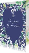 Jubileumkaarten - Jubileumkaart aanpasbaar, met hartje van bloemen