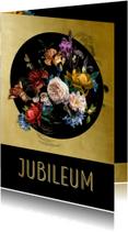 Jubileumkaarten - Uitnodiging Jubileum bloemen oude meesters met goud detail