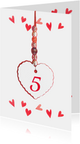 Jubileumkaart hartjes rood 5