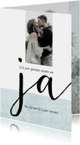 Jubileumkaart modern 12,5 jaar huwelijk 'ja'