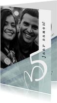 Jubileumkaarten - Jubileumkaart modern, 5 jaar samen eenvoudig met hart