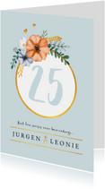 Jubileumkaart  uitnodiging klassiek en stijlvol met bloemen