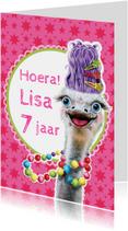 Verjaardagskaarten - kaart  grappige struisvogel
