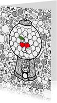 Kaart met kauwgomballen automaat met snoep, fruit en 1 kers