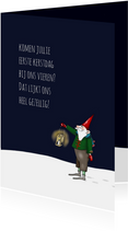 Kerstkaarten - Kerskaart - kerstmannetje met lantaarn