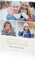Kerst fotocollage met 3 foto's en gouden confetti