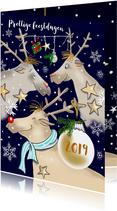 Kerstkaarten - Kerst - rendieren en kerstballen