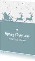 Kerstkaarten - Kerst - Silhouet kerstman, slee en rendieren