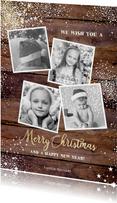 Kerst stoere stijlvolle kaart hout met sterren en 4 foto's