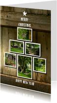 Kerstkaarten - Kerst verhuiskaart op hout achtergrond