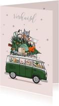 Kerstkaarten - Kerst verhuiskaart volkswagenbus groen