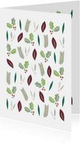 Kerstkaarten - Kerstblaadjes groen