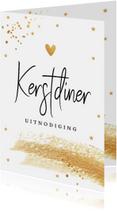 Kerstdiner uitnodiging met gouden confetti en brush
