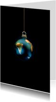 Kerstkaarten - Kerstkaart Aarde als kerstbal