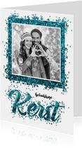 Kerstkaarten - Kerstkaart confetti blauw kerst 2019