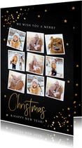 Kerstkaarten - Kerstkaart fotocollage donker goud confetti