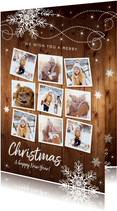 Kerstkaarten - Kerstkaart fotocollage hout sneeuwvlokken