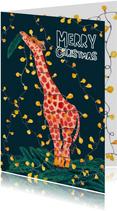 Kerstkaart giraffe met lichtjes