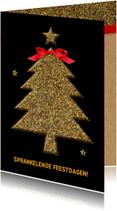 Zakelijke kerstkaarten - Kerstkaart glitter boom goud