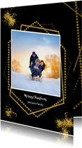 Kerstkaarten - Kerstkaart goudkaders op zwart en eigen foto