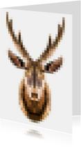 Kerstkaarten - Kerstkaart hert, pixels,