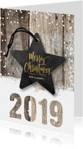 Kerstkaart hout sneeuw 2019