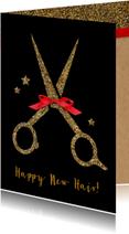 Zakelijke kerstkaarten - Kerstkaart Kapsalon gouden schaar