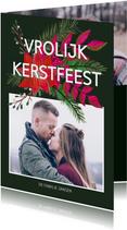 Kerstkaarten - Kerstkaart kerstbloemen en trendy tekst