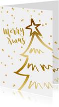 Kerstkaarten - Kerstkaart kerstboom confetti goudlook wit