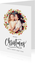 Kerstkaarten - Kerstkaart kerstkrans goud met foto