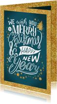 Kerstkaarten - Kerstkaart merry christmas lettering