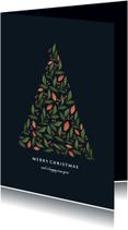 Kerstkaart met botanische kerstboom donker