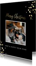 Kerstkaart met gouden confetti en foto